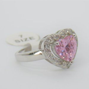 925 stamped Silver Heart Tourmaline Pink Halo Ring